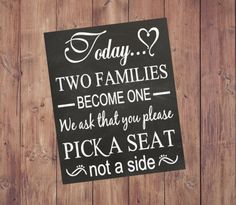 PERSONALIZED Today Two Families Become One by ItsALoveStoryDesign
