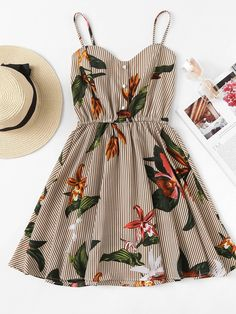 Shop Striped Floral Print Shirred Back Cami Dress online. ROMWE offers Striped Floral Print Shirred Back Cami Dress & more to fit your fashionable needs. Mode Outfits, Trendy Outfits, Summer Outfits, Short Outfits, Pretty Dresses, Beautiful Dresses, Honeymoon Outfits, Honeymoon Clothes, Travel Outfits