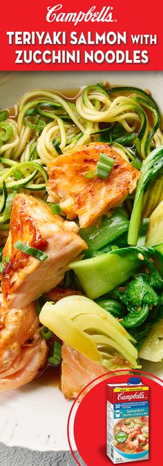 Teriyaki Salmon with Zucchini Noodles Recipe Campbells Teriyaki Salmon with Zucchini Noodles Zucchini Noodle Recipes, Salmon Recipes, Fish Recipes, Meat Recipes, Seafood Recipes, Vegetarian Recipes, Chicken Recipes, Cooking Recipes, Healthy Recipes