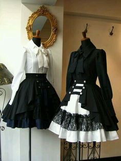 Clothes by Atelier Boz. I adore the black and blue skirt! It'd be amazing for a Pirate Lolita outfit. Style Lolita, Mode Lolita, Goth Style, Kawaii Fashion, Cute Fashion, Rock Fashion, Fashion Boots, Steampunk Fashion, Gothic Fashion