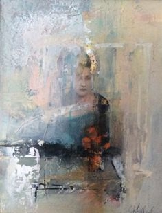 Contemporary Figurative Mixed Media Painting Visiting Yesterday by Intuitive Artist Joan Fullerton, painting by artist Joan Fullerton