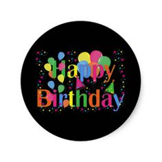 Shop Happy Birthday Party Balloons Classic Round Sticker created by Brightkids. Class Decoration, Stage Decorations, Birthday Decorations, Happy Birthday Parties, Birthday Wishes, Birthday Greetings For Men, Zumba, Birthday Background, Round Stickers