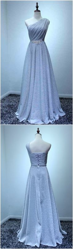 Custom made-to-order formal dress by GemGrace. Multiple colors and all sizes available. Additional photos also available upon request. Elegant Grey Bling Bling One-shoulder  Prom Dress 2016, Homecoming Dress 2016, Bridesmaid Dress 2016.