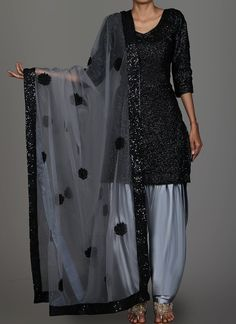 Black and Grey Sequins Embroidered Punjabi Suit features a sequins embroidered kameez with santoon inner, satin bottom and embroidered net dupatta. Embroidery w