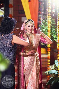 This pink one Indian Wedding Bride, Indian Wedding Outfits, South Indian Bride, Bridal Outfits, Bridal Dresses, Tamil Wedding, South Indian Weddings, Indian Groom, Punjabi Wedding
