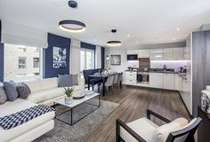 Lovely blue/silver/white themed open plan area