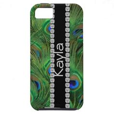 GIRLY BLING I PHONE 5 COVER PEACOCK FEATHER  LOOK iPhone 5 CASES