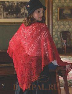 Тонкая ажурная шаль красного цвета в своем рисунке содержит традиционные элементы вязания оренбургских платков: Клубничка и косорядка – схема А, Мышиный след – схема В, Ягодки – схема С, Червонки – …