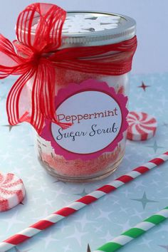 Peppermint Sugar Scrub - with a printable for the label