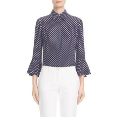 Women's Michael Kors Silk Georgette Blouse ($1,195) ❤ liked on Polyvore featuring tops, blouses, collar top, michael kors tops, silk georgette blouse, blue print top and pattern blouses