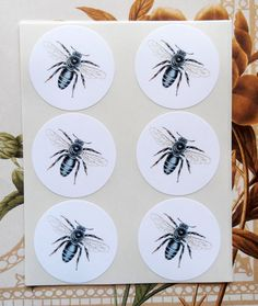 Bee Stickers Envelope Seals Party Favor Wedding SP043 by bljgraves, $5.00