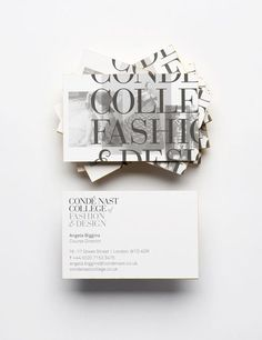 Conde Nast College of Fashion & Design Business Cards - bold and sophisticated typography