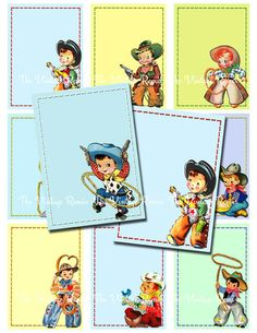 Retro Vintage Cowboys Printable Labels, Digital Collage Sheet, for Gift tags, Name tags, Place cards JPEG, ATC, ACEO