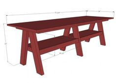 DIY Furniture Plan from Ana-White.com Make this table for $65 from solid wood!!! Free plans to build a double trestle table! Inspired by Pottery Barn Kids Hudson Play Table , but doubled in size for twice the fun and learning! Free easy step by step plans!