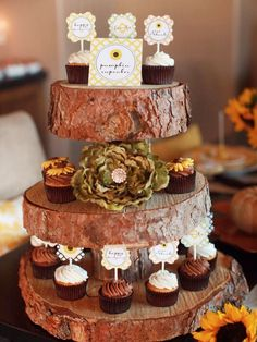 Cake stand...with thinner rounds, though. (Weddings by Lilly - http://www.weddingsbylilly.com/2012-wedding-trends/unique-rustic-wedding-ideas/attachment/rustic-cupcake-holder-ideas.001/)