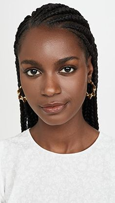 Gold plated brass Snap bar clasp Imported, China Style Measurements Length: / A polished design with a twisty silhouette, these Loeffler Randall hoop earrings are an easy way to add a touch of shine to any look. Braided Hairstyles For Black Women Cornrows, African Braids Hairstyles, Black Women Hairstyles, African Hair Braiding, Natural Protective Hairstyles, Protective Hairstyles For Natural Hair, Twist Hairstyles, Black French Braid Hairstyles, Cornrows Short Hair