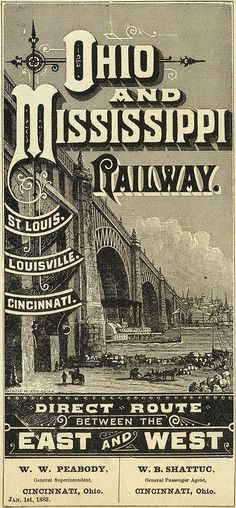 Old poster of the Oho and Mississippi Railway operating from Cincinnati to Louisville to St. Louis.