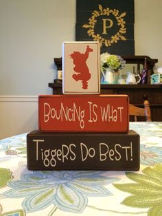 Tigger Winnie the Pooh disney stacking wood blocks bouncing tigger birthday centerpiece custom distressed wood blocks classic pooh nursery
