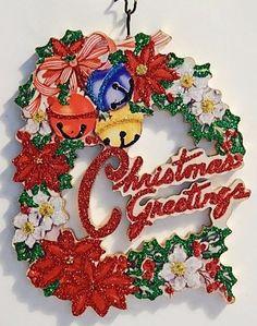 POINSETTIAS. JINGLE BELLS, GREETINGS * Glitter CHRISTMAS ORNAMENT * Vtg Card Img