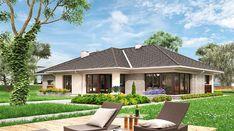 Berenika - murowana – ceramika - zdjęcie 2 Village House Design, Village Houses, Bungalow House Plans, Modern House Plans, Beautiful House Plans, Beautiful Homes, Modern Bungalow Exterior, Design Your Dream House, Garden Seating