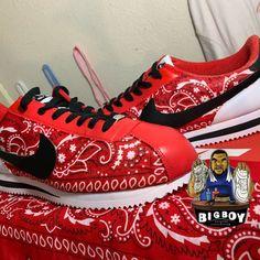 Red Bandana Shoes, Bandana Outfit, All Red Nike Shoes, Nike Air Shoes, Bandana Quilt, Nike Cortez Shoes, Custom Shoes, Custom Sneakers, Bling Shoes