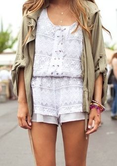 dressy rompers mixed with casual pieces Estilo Fashion, Net Fashion, Look Fashion, Fashion Outfits, Trendy Fashion, Looks Style, Style Me, Sweet Style, Cute Summer Outfits