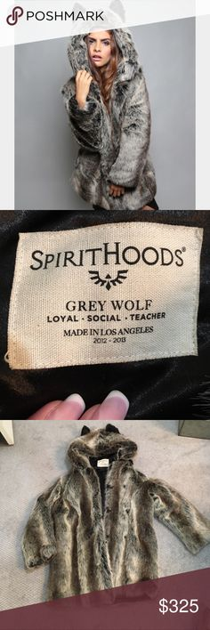❤️ SpiritHood Grey Wolf Coat ❤️ 😳 Amazing worn 1x wolf SpiritHood with ears on the hood 2 pockets button front price is firm due to shipping cost it's a pretty heavy coat ! Spirithood Jackets & Coats