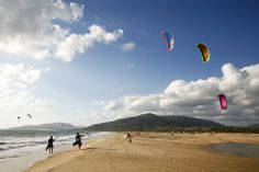 Kite surfers on Playa de los Lances beach, Tarifa, Andalucia, Spain.