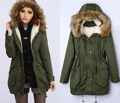 Women's Thick Military Jacket Faux Fur Hood Long Winter Coat Lining Parka Green #Other #BasicCoat