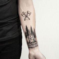 Forest, deer and axes, tattoo in progress děkuji moc Alešovi :) - Tatuering Forarm Tattoos, New Tattoos, Body Art Tattoos, Small Tattoos, Tattoos For Guys, Cool Tattoos, Tatoos, Forest Tattoo Sleeve, Nature Tattoo Sleeve