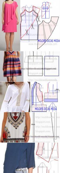 MOLDE VESTIDO DUPLO -261 - Moldes Moda por Medida