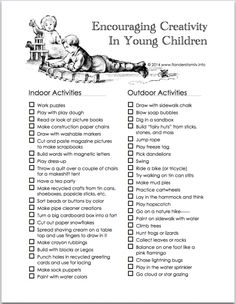 Encouraging Creativity in Young Children | free printable