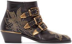 Chloé - Black Leather Studded Susanna Boots