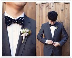 groom's black and white polka dot bow tie