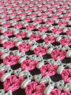 Small Hearts Crochet Baby Blanket Crochet Afghan by ToastyTextures, pink and white
