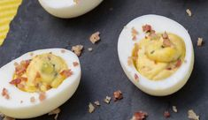 Cranberry Cheddar & Bacon Deviled Eggs #madewithEB