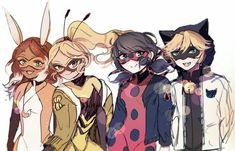 All the superheroes in Miraculous Ladybug Lady Bug, Ladybug E Catnoir, Ladybug Comics, Mlb, Cat Noir, Fanart, Animation, Animated Cartoons, Bugaboo