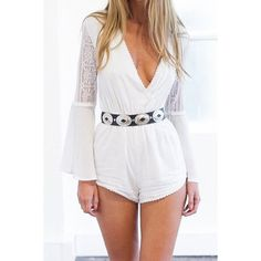 Plunging Neck Long Sleeve Solid Color Women's Romper
