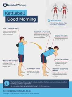 The Kettlebell Good Morning will help to mobilise the hips and hamstrings as well as teaching good back alignment. Do not use a challenging kettlebell weight for this exercise. #kettlebell #exercise #warmup