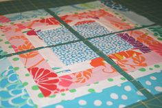 Quartered Squares--Tutorial----I would leave the block whole & use the big one to make a quilt.