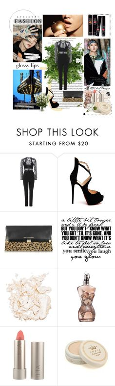 """Sem título #13012"" by nathsouzaz ❤ liked on Polyvore featuring self-portrait, Christian Louboutin, Diane Von Furstenberg, Jona, Stila, Jean-Paul Gaultier, Ilia, Tocca and New Growth Designs"