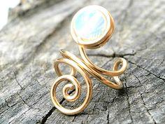 Ear Cuff, Gold Ear Cuff, 6mm Smooth Sea Opal Opalite Ear Wrap Ear Cuff, Opal Ear Cuff, Opalite Ear Cuff, Non Pierced , Spiral Ear Cuff