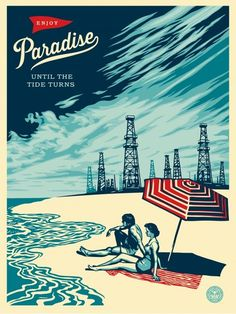 Obey - Paradise Turns This print was inspired by some old photos I saw of Playa Del Rey and Long Beach, there are still oil drilling platforms visible. The idea of trouble in paradise is also about our lack of foresight in transitioning away from oil. The tide will turn, and the question is whether we will be technically equipped to adapt, or will the things oil provides, that we take for granted, halt catastrophically? Shepard Fairey