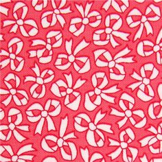 pink Michael Miller fabric with white ribbon