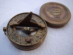 4 pcs Brass Sundial Lanyard and Pendant Steampunk Quality Antique Bronze Finish