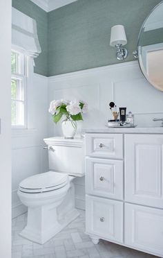 A powder room is just a rather more fancy way of referring to a bathroom or toilet room. Just like in the case of a regular bathroom, the powder room may present different challenges related to its interior design and… Continue Reading → Bad Inspiration, Bathroom Inspiration, Bathroom Ideas, Bathroom Designs, Bathroom Storage, Bathroom Organization, Bathroom Colors, Chevron Bathroom, Mint Bathroom