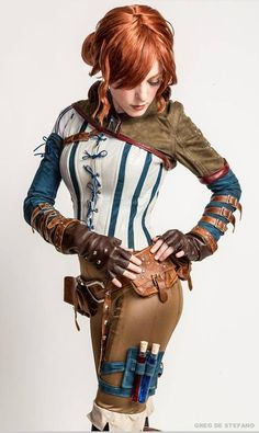 "sci-figirls: ""whybecosplay: "" Witcher Triss cosplay Cosplay by Jessica Dru Costume by Manzi DeYoung Photos by Greg De Stefano. "" Triss Merigold cosplay, from The Witcher"" Moda Steampunk, Style Steampunk, Victorian Steampunk, Steampunk Clothing, Steampunk Outfits, Steampunk Couture, Steampunk Wedding, Gothic Clothing, Steampunk Diy"