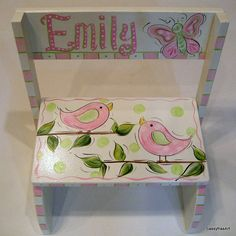 Birdies and Butterfly Step Stool by SassyfrasDesignz on Etsy, $49.99