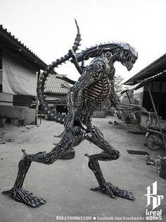 Biomechanical Recycled Metal Monster (made-to-order) / Deko Modareji Metal Tree Wall Art, Scrap Metal Art, Metal Artwork, Tree Artwork, Metal Sculpture Artists, Steel Sculpture, Art Sculptures, Sculpture Ideas, Metal Welding