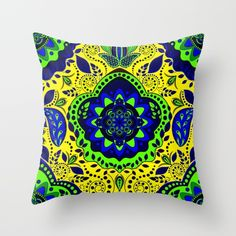 Boho Fantasy Pattern Yellow and Green Throw Pillow
